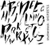 hand drawn dry brush font.... | Shutterstock .eps vector #641935711