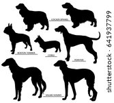 Stock vector dog silhouettes set outline and silhouette vector 641937799