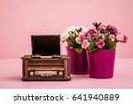 decorative retro record player... | Shutterstock . vector #641940889