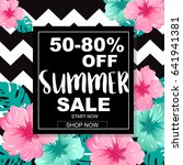 summer sale banner with... | Shutterstock .eps vector #641941381