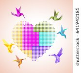 colorful halftone origami bird... | Shutterstock .eps vector #641942185