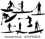 set as stand up paddling... | Shutterstock .eps vector #641953825