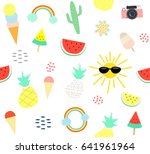 cute summer icon with sun ice... | Shutterstock .eps vector #641961964