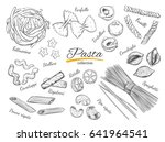 italian pasta set. different... | Shutterstock .eps vector #641964541