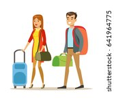 tourists couple with travel... | Shutterstock .eps vector #641964775