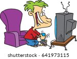cartoon boy playing video games | Shutterstock .eps vector #641973115