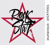 rock star print for t shirt ... | Shutterstock .eps vector #641974501