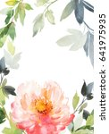 postcard with a big peony.... | Shutterstock . vector #641975935