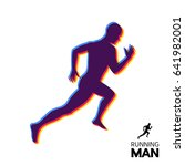 silhouette of a running man.... | Shutterstock .eps vector #641982001