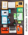 colorful creative team desktop... | Shutterstock . vector #641987239