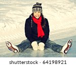 ice skating woman sitting on... | Shutterstock . vector #64198921