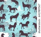 magic cute unicorns silhouettes ... | Shutterstock .eps vector #641989567