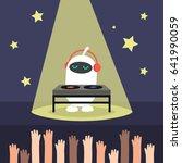 cute white robot playing a dj... | Shutterstock .eps vector #641990059