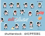 set character robot android.... | Shutterstock .eps vector #641995081