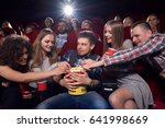group of friends watching movie ... | Shutterstock . vector #641998669
