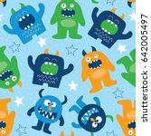 seamless monster pattern vector ... | Shutterstock .eps vector #642005497