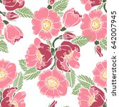 decorative rose seamless vector ... | Shutterstock .eps vector #642007945