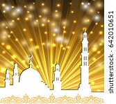 background with a mosque and a... | Shutterstock .eps vector #642010651