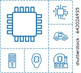 cpu icon. set of 6 cpu outline...   Shutterstock .eps vector #642026935