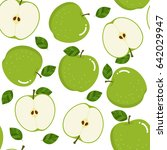 green apple seamless pattern.... | Shutterstock .eps vector #642029947