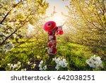 woman silhouette in kimono with ... | Shutterstock . vector #642038251