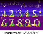 summer numerals   text by stars ... | Shutterstock .eps vector #642040171