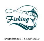 swordfish fishing emblem with... | Shutterstock .eps vector #642048019