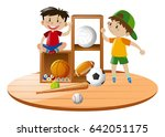 boys and sport equipments... | Shutterstock .eps vector #642051175