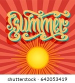 vector hand drawn word summer... | Shutterstock .eps vector #642053419
