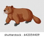 brown beaver on transparent... | Shutterstock .eps vector #642054409