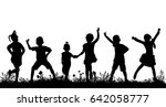 silhouette of a crowd of... | Shutterstock .eps vector #642058777
