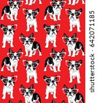 seamless pattern with cartoon... | Shutterstock .eps vector #642071185