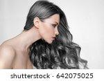 girl long and shiny wavy hair . ...   Shutterstock . vector #642075025