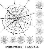 set of 11 different spiderwebs...   Shutterstock .eps vector #64207516