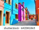 colorful houses in burano... | Shutterstock . vector #642081865