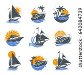 set of yacht icons with waves... | Shutterstock .eps vector #642084739