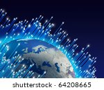 optical fibres speeding around...   Shutterstock . vector #64208665
