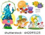 alice in wonderland characters... | Shutterstock .eps vector #642095125