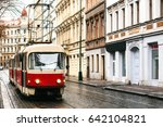 tram public transport on the... | Shutterstock . vector #642104821