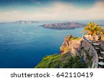 sunny morning view of santorini ... | Shutterstock . vector #642110419