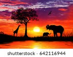 Silhouette Of African Animals...