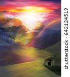 Mountain Sunset And Hut