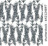hand drawn rosemary pattern.... | Shutterstock .eps vector #642124897