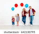 happy family with ballons.... | Shutterstock . vector #642130795