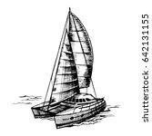 catamaran sailboat monochrome... | Shutterstock .eps vector #642131155