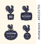 set of vintage rooster badges.... | Shutterstock .eps vector #642131701