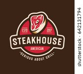 vintage steakhouse logo badge... | Shutterstock .eps vector #642131794