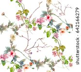 Stock photo watercolor painting of leaf and flowers seamless pattern on white background 642166279