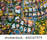 aerial view of a typical suburb ... | Shutterstock . vector #642167575