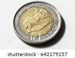 South African ZAR Five Rand (R5) coin, introduced in 2004. A bi-metallic coin with added security features, including a grooved edge and micro-lettering.